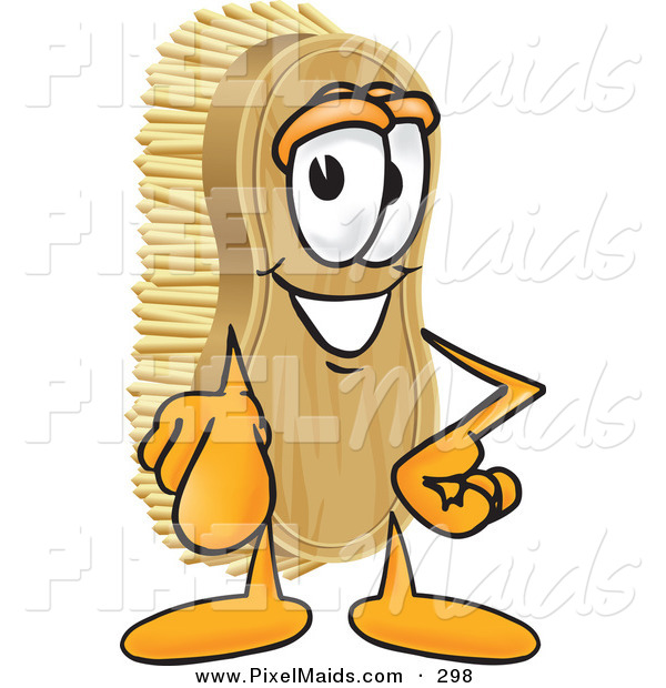 Clipart of a Happy Scrub Brush Mascot Cartoon Character Pointing Outwards at the Viewer