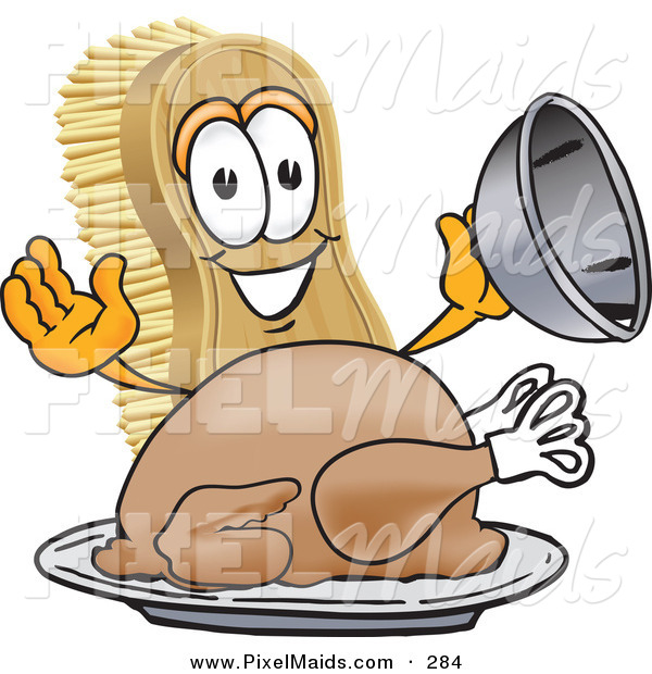 Clipart of a Happy Scrub Brush Mascot Cartoon Character Serving a Cooked Thanksgiving Turkey on a Platter