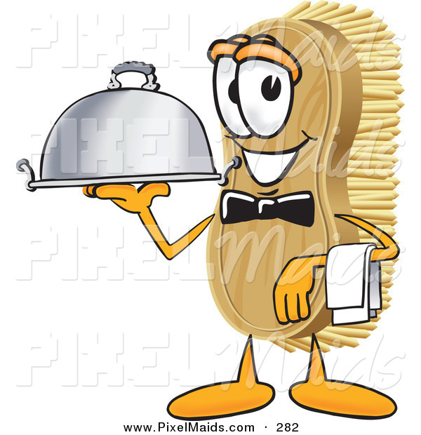 Clipart of a Happy Scrub Brush Mascot Cartoon Character Serving a Dinner Platter While Waiting Tables