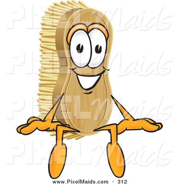 Clipart of a Happy Scrub Brush Mascot Cartoon Character Sitting