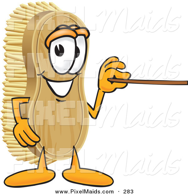 Clipart of a Happy Scrub Brush Mascot Cartoon Character Using a Pointer Stick to Point to the Right