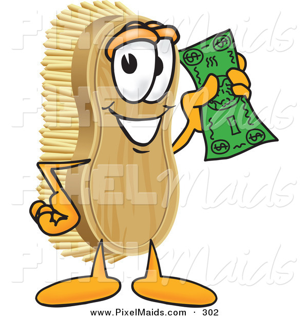 Clipart of a Happy Scrub Brush Mascot Cartoon Character Waving Cash in the Air