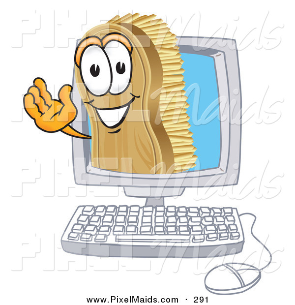 Clipart of a Happy Scrub Brush Mascot Cartoon Character Waving from Inside a Computer Screen