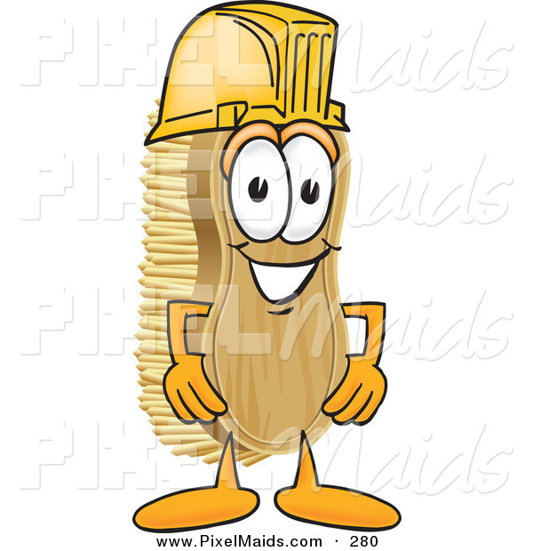 Clipart of a Happy Scrub Brush Mascot Cartoon Character Wearing a Yellow Hardhat Helmet