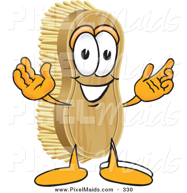 Clipart of a Happy Scrub Brush Mascot Cartoon Character with Welcoming Open Arms