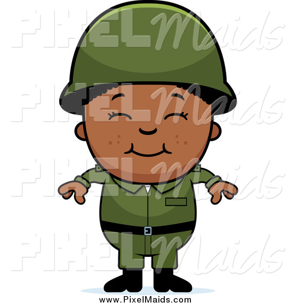 Clipart of a Happy Smiling Black Army Boy