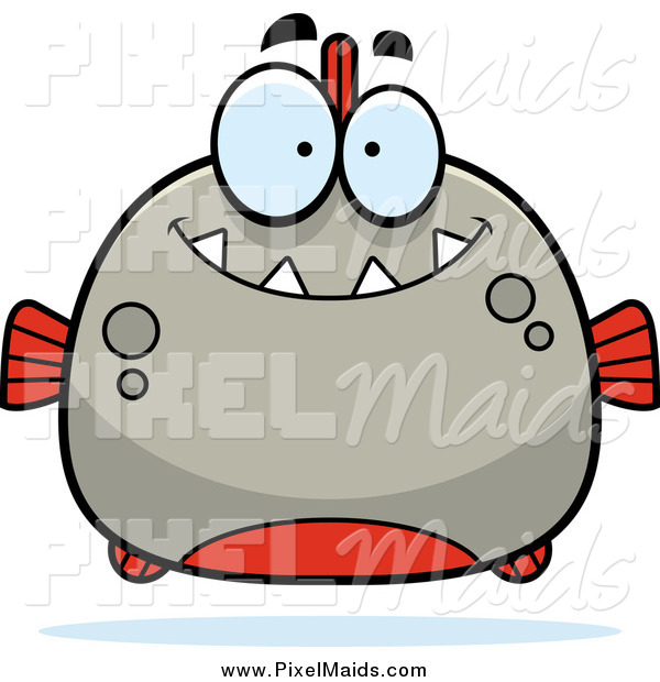 Clipart of a Happy Smiling Piranha