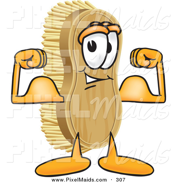 Clipart of a Happy Strong Scrub Brush Mascot Cartoon Character Flexing His Strong Bicep Arm Muscles