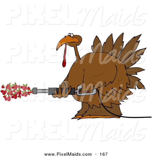Clipart of a Happy Thanksgiving Turkey Spraying Cranberries out of a Pressure Washer