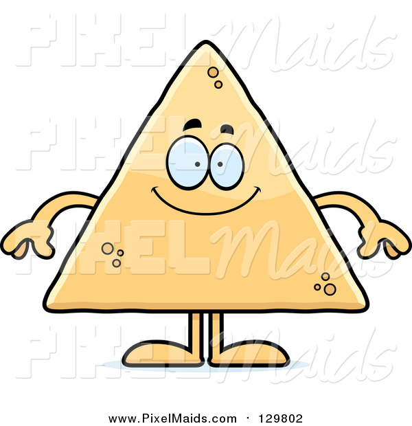 Clipart of a Happy Tortilla Chip