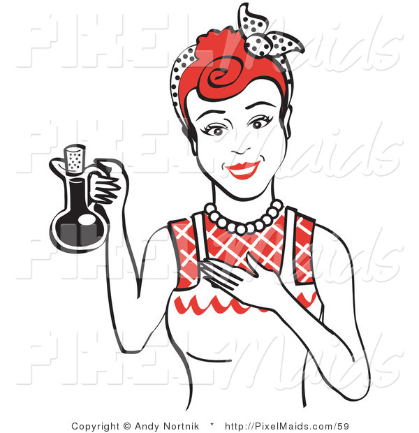 Clipart of a Happy Woman in a White Apron, Holding up a Bottle of Cooking Oil