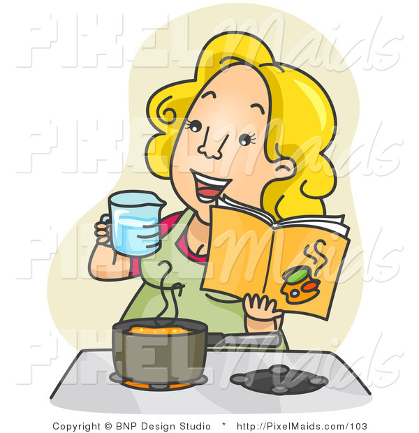 Clipart of a Happy Woman Measuring and Cooking in a Kitchen from a Cookbook