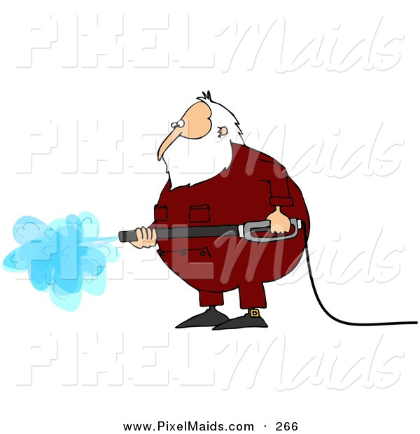 Clipart of a Hard Working Kris Kringle Wearing Pajamas and Operating a Pressure Washer