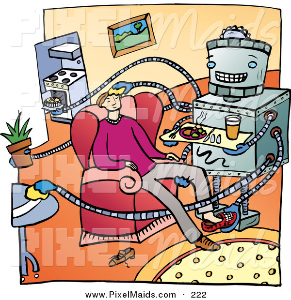 Clipart of a Helpful Metal Robot Cooking, Cleaning and Serving Its Master a Meal in a Living Room