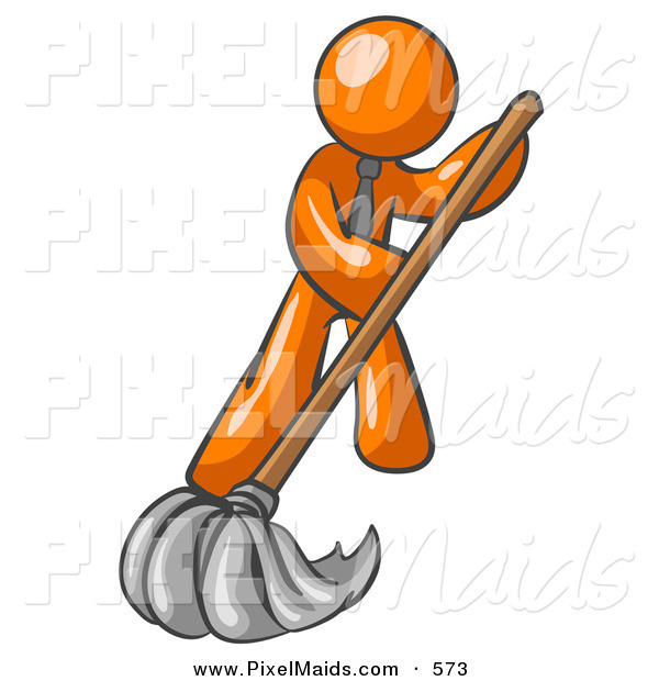 Clipart of a Helping Orange Man Wearing a Tie, Using a Mop While Mopping a Hard Floor to Clean up a Mess or Spill