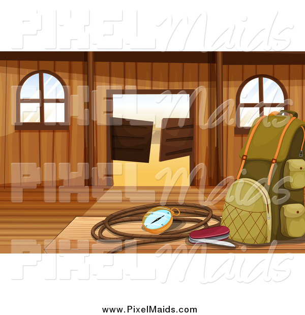 Clipart of a Hiking Bag and Gear in a Western Saloon