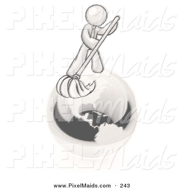 Clipart of a Huge Man Using a Wet Mop with Green Cleaning Products to Clean up the Environment of Planet Earth
