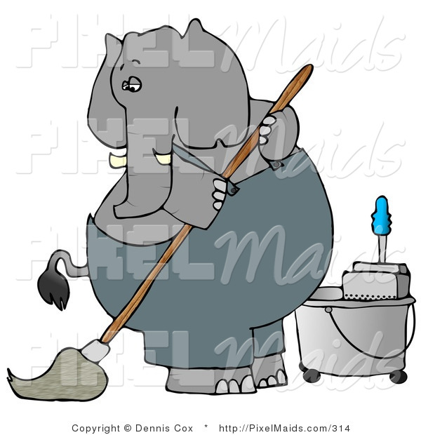 Clipart of a Human-like Gray Elephant Janitor Cleaning and Mopping a Floor