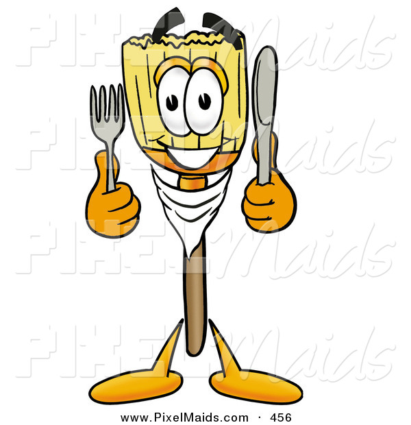 Clipart of a Hungry and Happy Broom Mascot Cartoon Character Holding a Knife and Fork