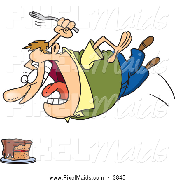 Clipart of a Hungry Chubby Caucasian Man Diving Towards a Tasty Dessert Cake with a Fork