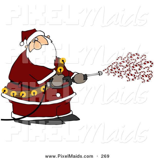 Clipart of a Kris Kringle Spraying Candy Canes out of a Pressure Washer on White