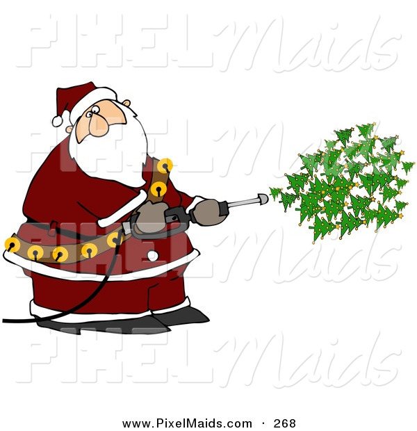 Clipart of a Kris Kringle Spraying Christmas Trees out of a Pressure Washer on White