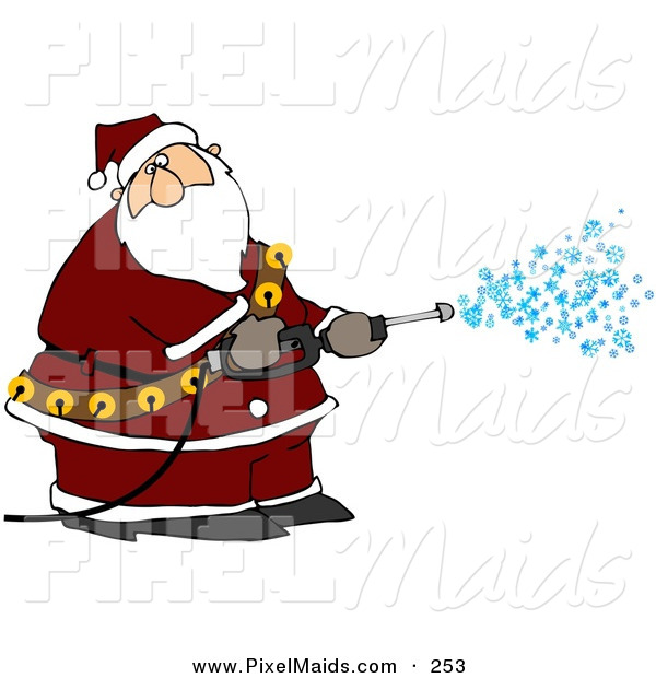 Clipart of a Kris Kringle Spraying Snow out of a Pressure Washer and Looking Right
