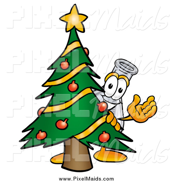 Clipart of a Laboratory Flask Beaker Waving Behind a Christmas Tree