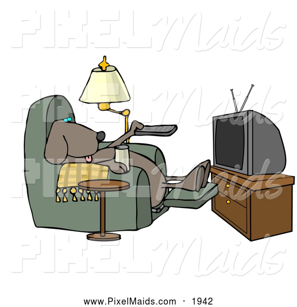 Clipart of a Lazy Funny Dog Sitting in a Recliner with a Beer, Changing TV Channels with Remote Controller