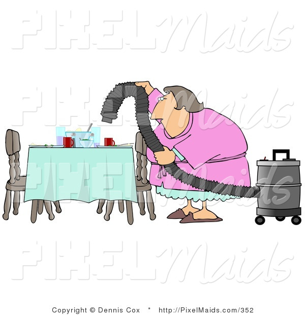 Clipart of a Lazy House Wife or Maid Using a Vacuum to Suck Everything off the Dinner Table so She Doesn't Have to Clean