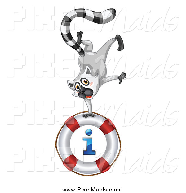 Clipart of a Lemur Doing a Hand Stand on an I Information Life Buoy