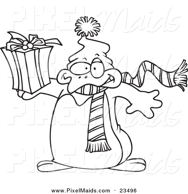 Clipart of a Lineart Christmas Penguin Holding a Gift