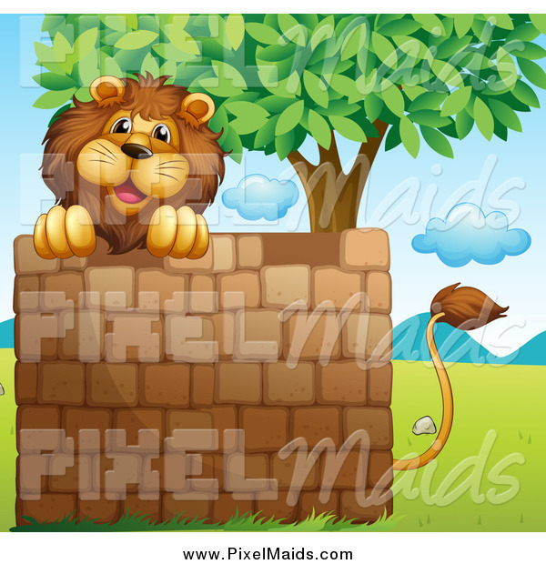 Clipart of a Lion over a Brick Wall Under a Tree