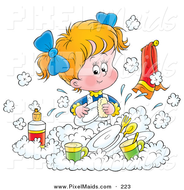 Clipart of a Little Blond White Girl Happily Washing Dishes in a Soapy Kitchen Sink