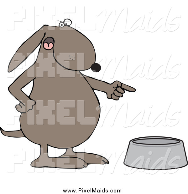 Clipart of a Mad Brown Dog Pointing to an Empty Food Bowl