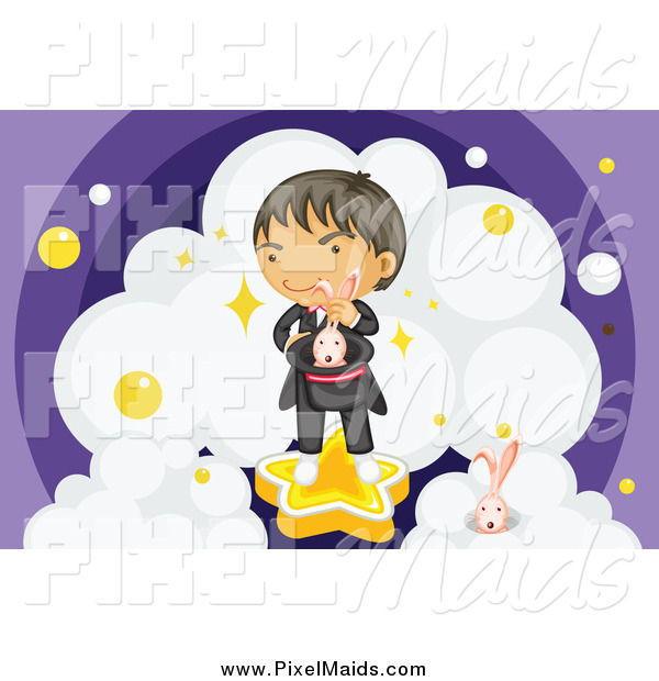 Clipart of a Magician with Rabbits and Clouds