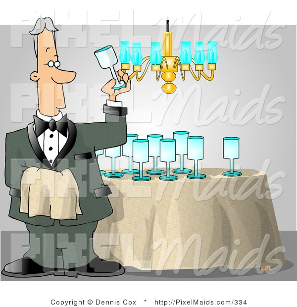 Clipart of a Male Butler Man Cleaning and Polishing Wine Glasses