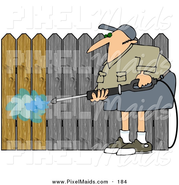 Clipart of a Male Pressure Washing a Wood Fence to Remove the Silvery Color
