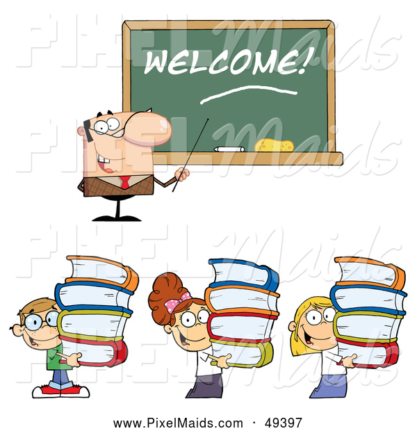 Clipart of a Male Teacher and Students Carrying Stacks of Books