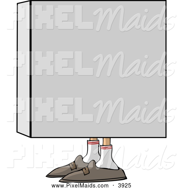 Clipart of a Man Hiding in a Box and Looking Left