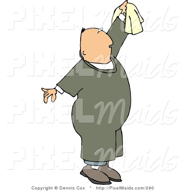 Clipart of a Man Reaching up to Clean Something with a White Cotton Rag