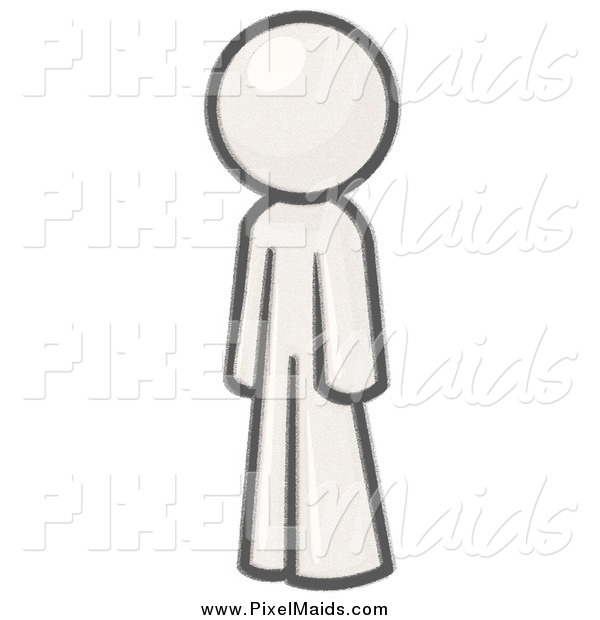 Clipart of a Man Standing and Facing Left