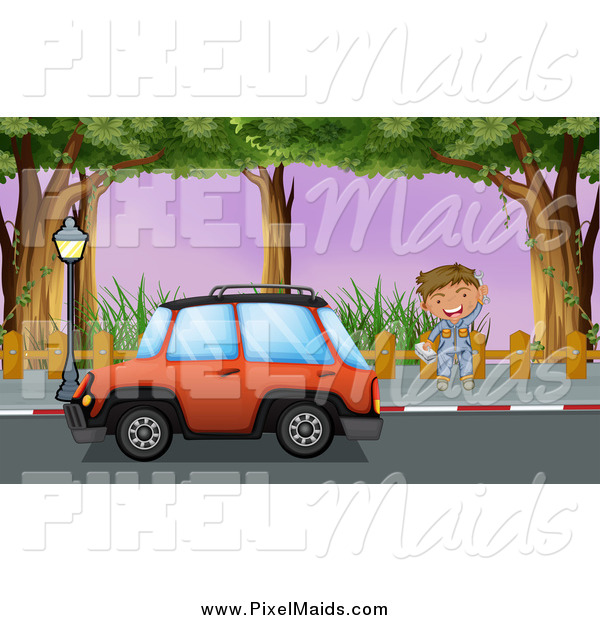 Clipart of a Mechanic Waving by a Red Car