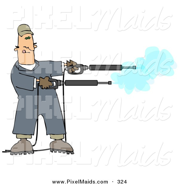 Clipart of a Mischievious Adult White Man in Blue Coveralls, Playing with Two Power Washer, or Pressure Washer, Nozzles and Spraying Them like Guns