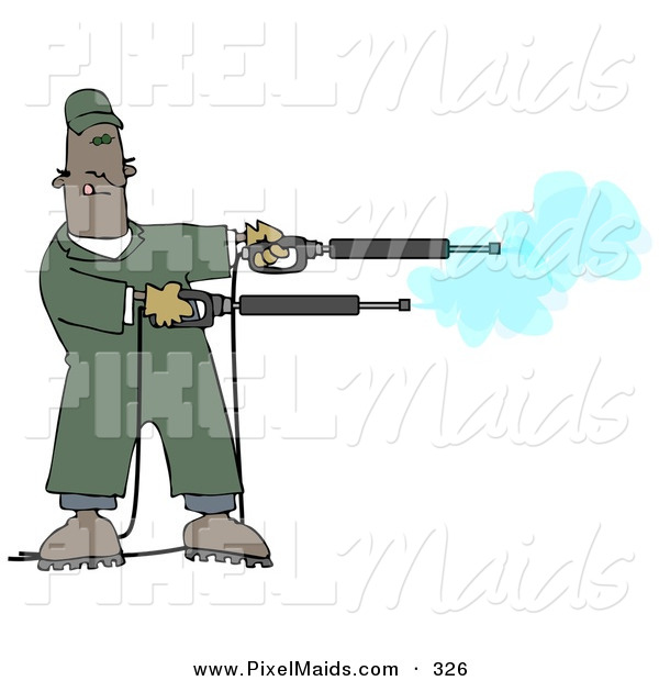 Clipart of a Mischievious Black Man in Green Coveralls, Playing with Two Power Washer, or Pressure Washer, Nozzles and Spraying Them like Guns