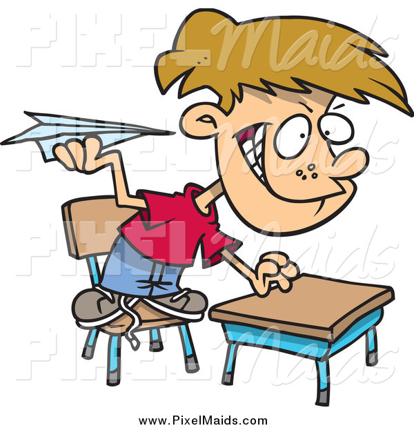 Clipart of a Mischievous Cartoon Caucasian School Boy Throwing Paper Planes in Class