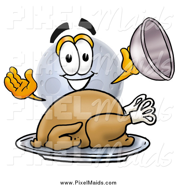 Clipart of a Moon Mascot with a Thanksgiving Turkey