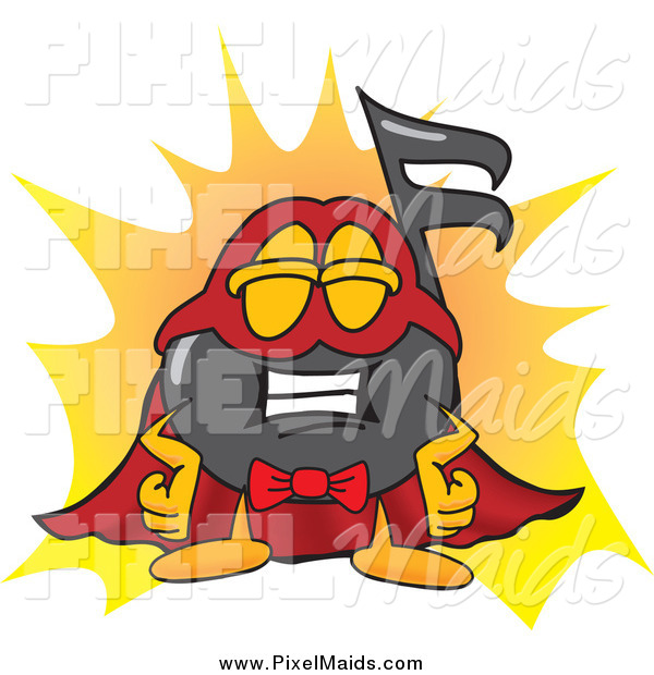Clipart of a Music Note Character Super Hero