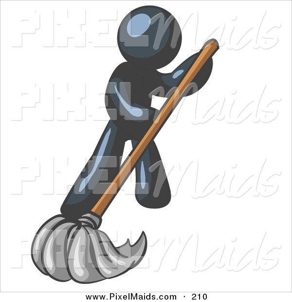 Clipart of a Navy Blue Businessman Wearing a Tie, Using a Mop While Mopping a Hard Floor to Clean up a Mess or Spill