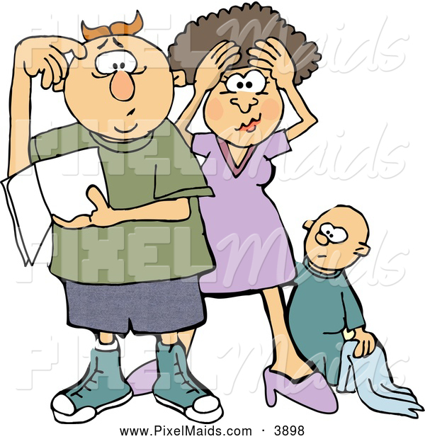 Clipart of a New Mom and Dad Trying to Figure out How to Raise a Baby Boy, on White